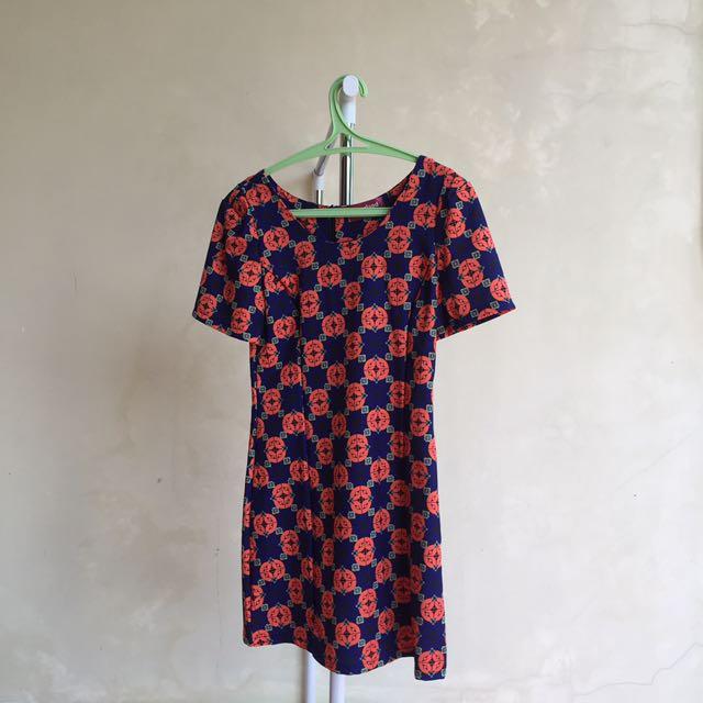Orange N Blue Dress