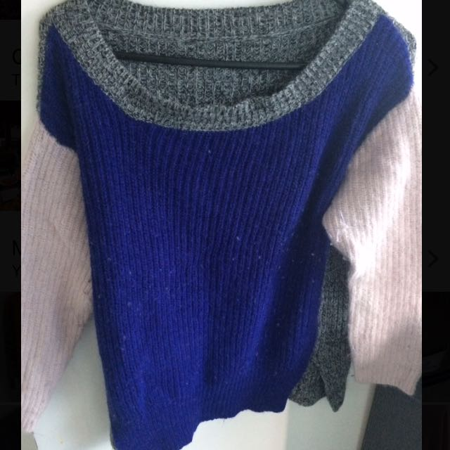 Pink Grey Blue Jumper