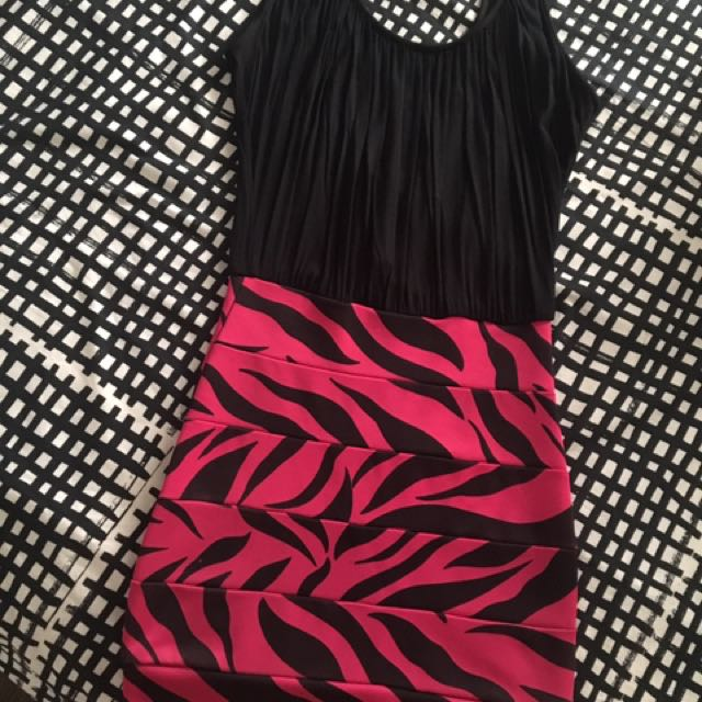 Pink Stripped Bandage Dress