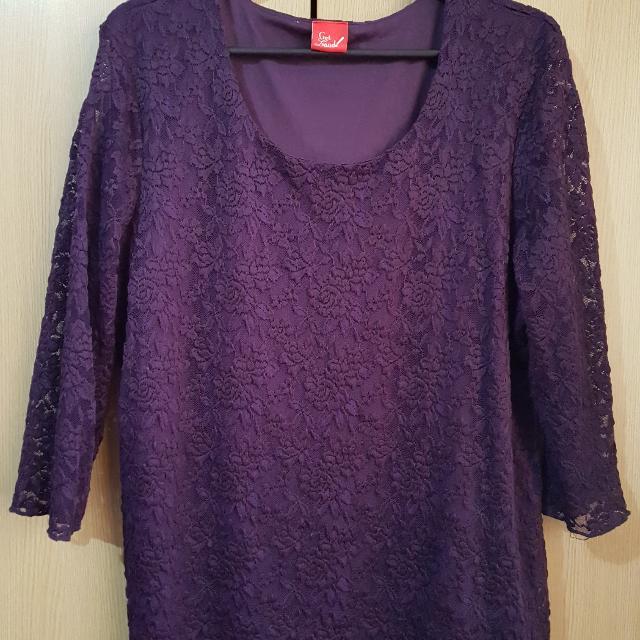 PLUS SIZE Purple Lace Blouse Fits 2XL-3XL