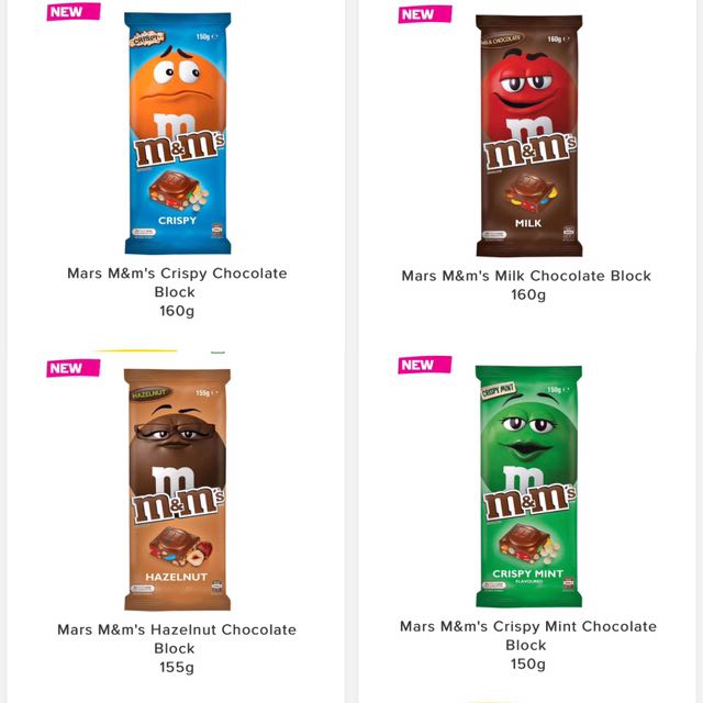 PO M&M Chocolate Bars