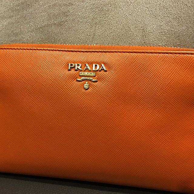 4927fbd0c669 ... reduced prada saffiano papaya wallet authentic luxury bags wallets on  carousell 04d0a 27a60
