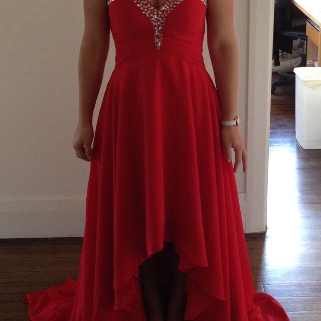 Red Formal Dress Strapless