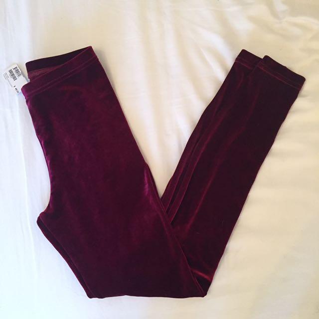 BNWT American Apparel Burgundy Velvet Stretch Leggings