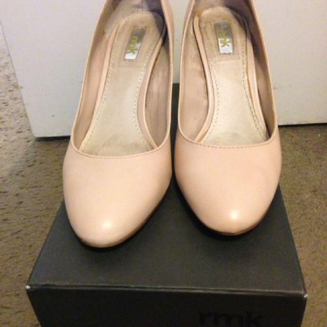 RMK Leelee Nude Leather Heigh Heels - Size 38