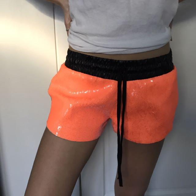 Sass & Bide Fluro Orange Sequin Shorts
