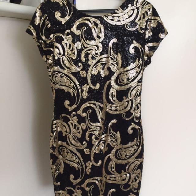 Sass Black & Gold Sequin Dress