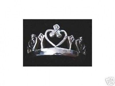 Silver .925 Celtic Heart Crown Ring Wicca Jewelry Pagan Choose your ring size