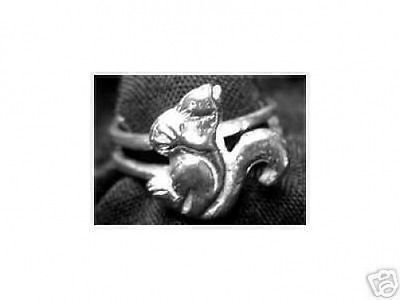 Squirrel eatting nut ring Sterling silver .925 Jewelry Choose your ring size