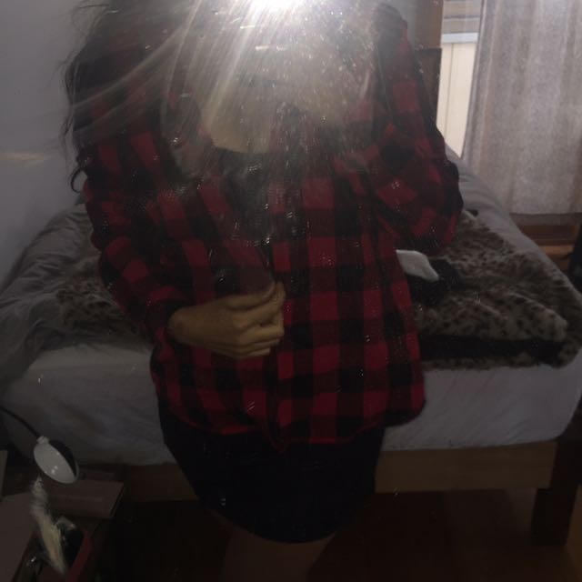 Supre Woman's Button Up Flannel In Red And Black