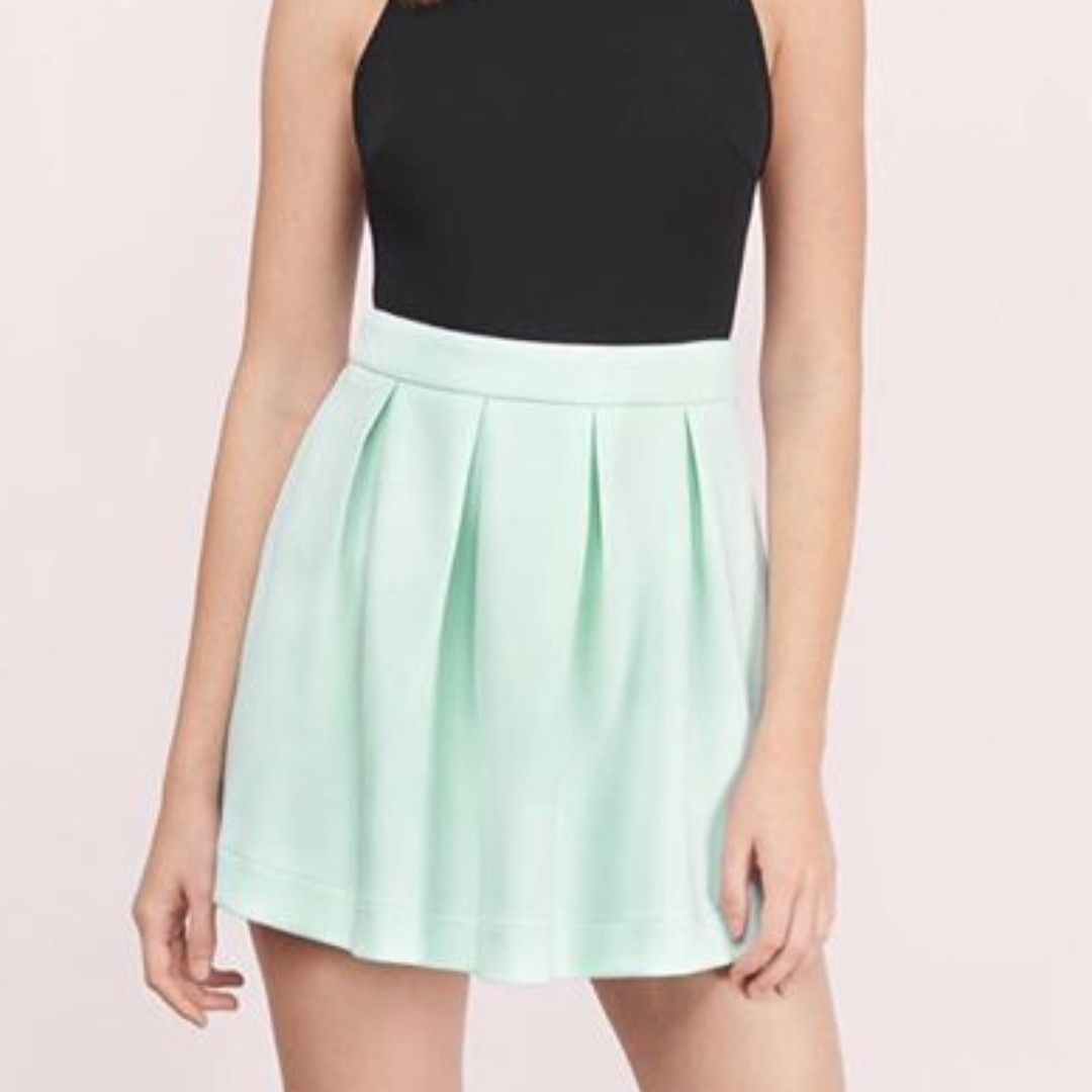 Tobi Scuba Flare Skirt, Mint, Size Small