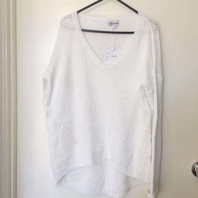 White Knitting Top