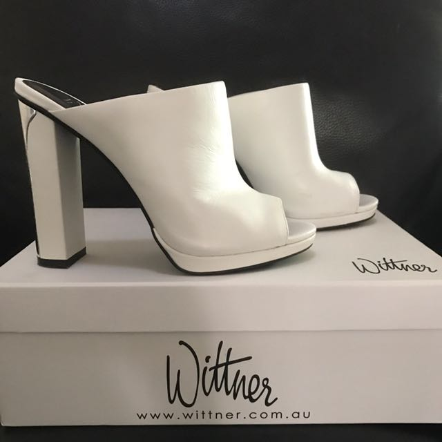 "Wittner White & Silver ""Melton"" Leather Mule"