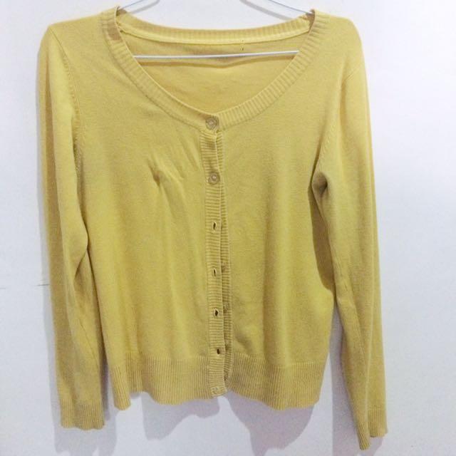 yellow cardigan