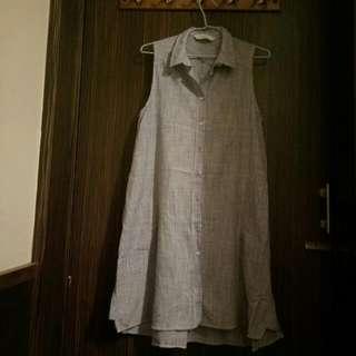Zara條紋無袖長版上衣