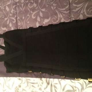 Bebe Dress Black With Gold