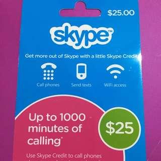 $25 Skype Rechargd