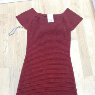 Red/Burgundy Fitted Dress