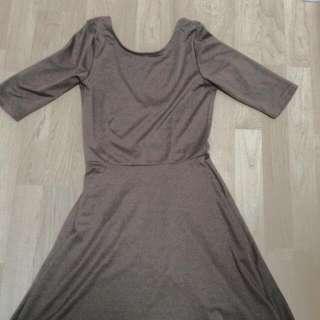 Open Back Brown/Dark Tan Short Sleeve Dress