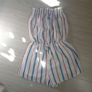 Striped Blue And Pink Strapless Playsuit