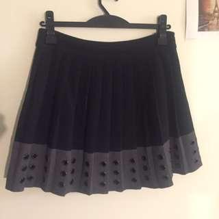 Witchery Black And Grey Hole Hem Skirt Size 12