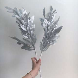 Set of 2 Decorative Silver Leaf Branches