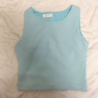 Pastel Blue Top With Criss Cross Back Details