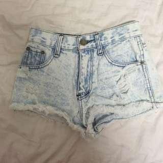 Light Blue Highwaist Frayed Denim Shorts