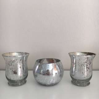 Set Of 3 Silver Ornaments