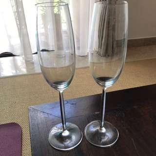 6 X Schott Zwiesel Champagne Glasses + Free Mugs