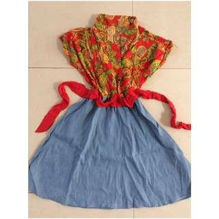 preloved dress batik combinasi denim