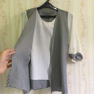 Blouse White And Black