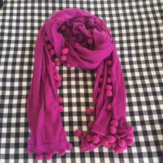 Witchery Purple Pom Pom Scarf