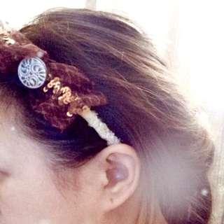 🌿淺黃花Lace啡色閃片古縷頭箍