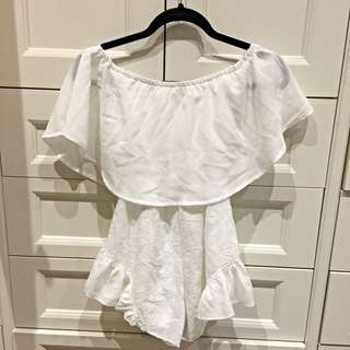 Off The Shoulder White Playsuit