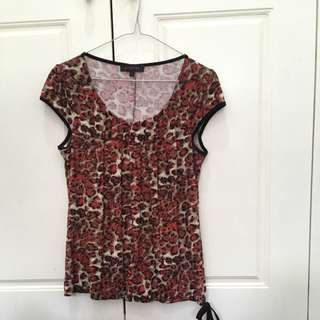 Red Leopard Print Blouse
