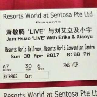 Jam Hsiao Concert Ticket X2 8pm 30april
