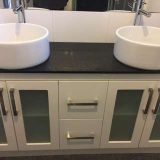 Double vanity- Black granite stone with 2 white bowls for $550 its worth $1500+