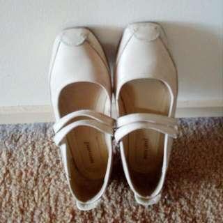 Beige Flat Mary Janes - Size 8