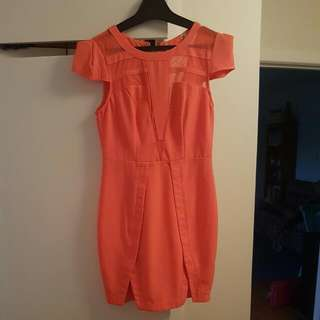 Bright Orange Dress Size 8