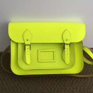 """13"""" ORIGINAL Cambridge Satchel In Neon Yellow"""