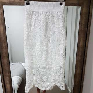 White Lace Skirt Also Available In Black