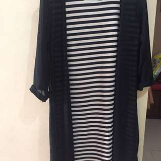 Dress Black N White With Outer