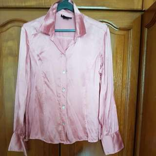 100% Silk Pink Blouse Top - Size 10