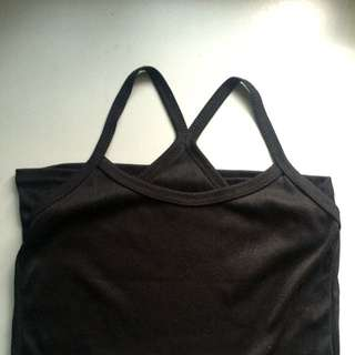 Cross Back Sleeveless Black Top