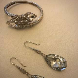 Silver Earrings And Bangle