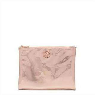mimco rose gold supersonica pouch / makeup bag