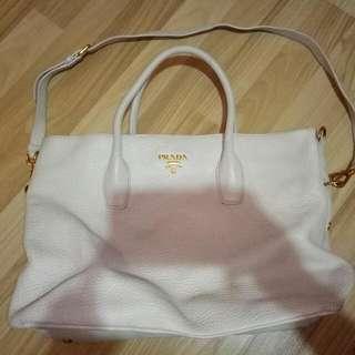 Preloved Authentic Prada Leather Tote Bag In Cream