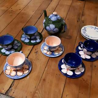 Tea Pot + Cups And Saucers