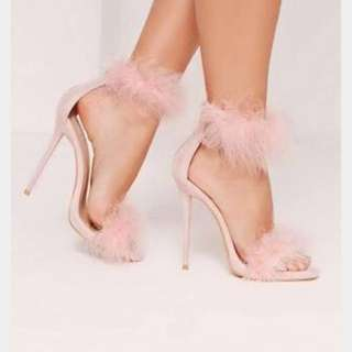 missguided pink fluffy heels